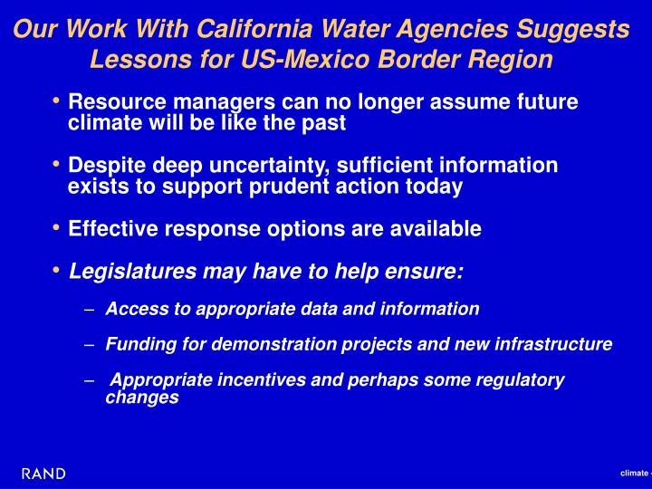 Our Work With California Water Agencies Suggests Lessons for US-Mexico Border Region