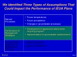 we identified three types of assumptions that could impact the performance of ieua plans1