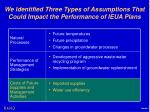 we identified three types of assumptions that could impact the performance of ieua plans2