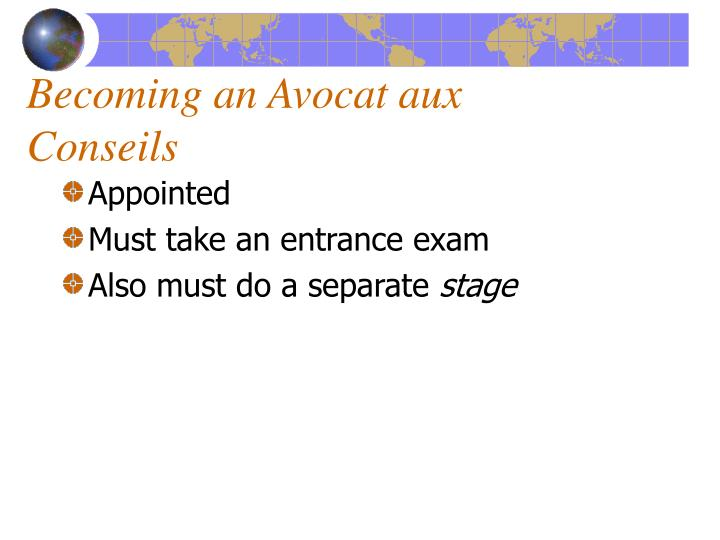 Becoming an Avocat aux Conseils