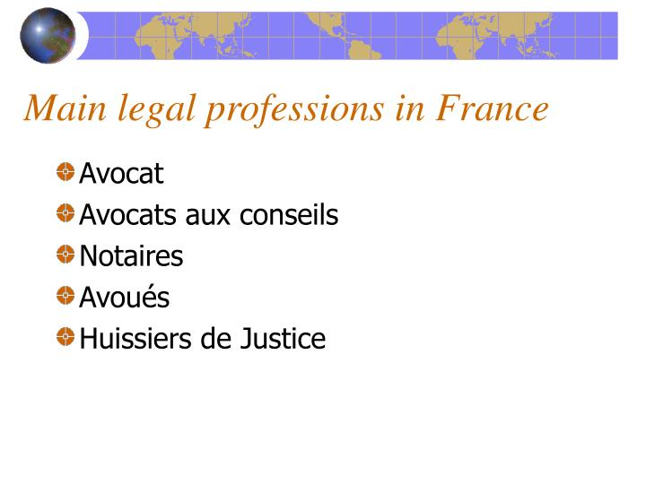 Main legal professions in France