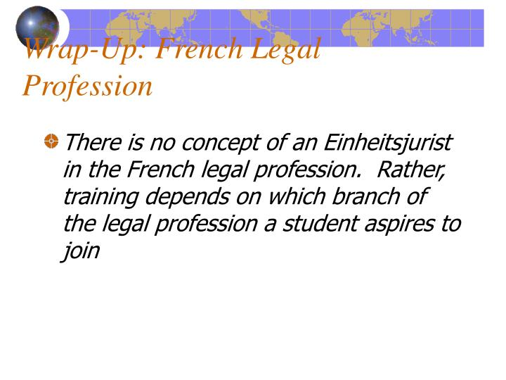 Wrap-Up: French Legal Profession