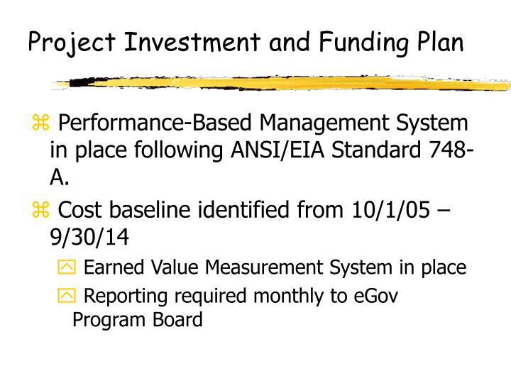 Project Investment and Funding Plan