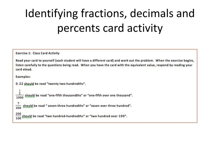 Identifying fractions, decimals and