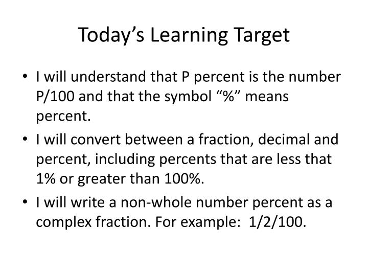 Today's Learning Target
