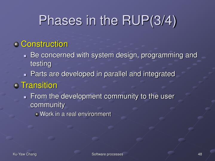 Phases in the RUP(3/4)