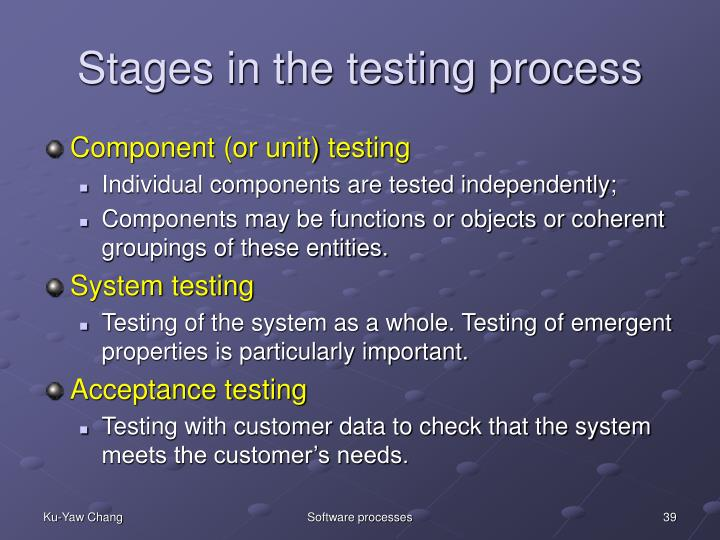 Stages in the testing process