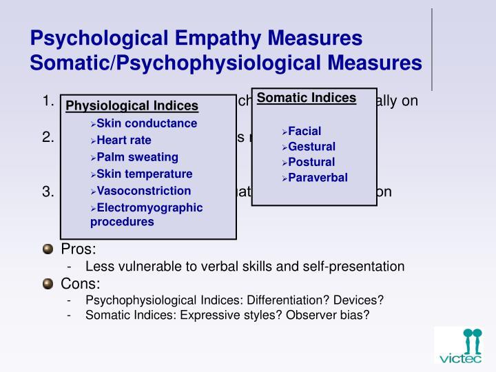 Psychological Empathy Measures Somatic/Psychophysiological Measures