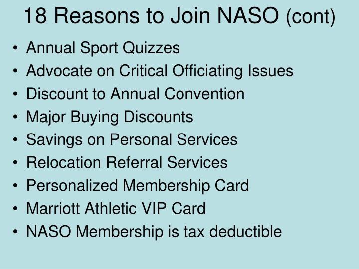18 Reasons to Join NASO