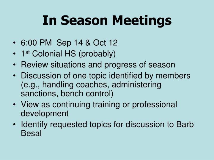 In Season Meetings