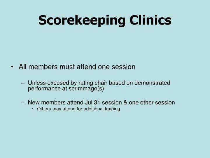 Scorekeeping Clinics