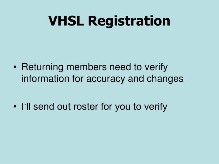 VHSL Registration
