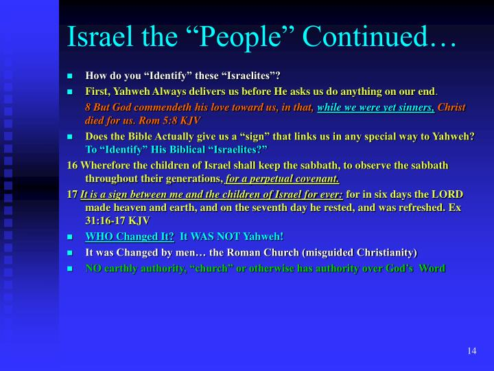 """Israel the """"People"""" Continued…"""