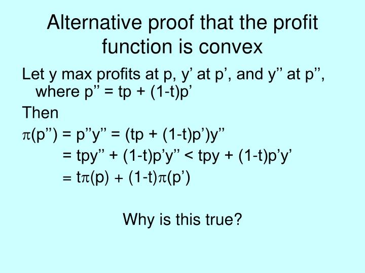 Alternative proof that the profit function is convex