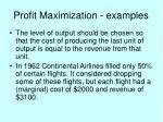 profit maximization examples