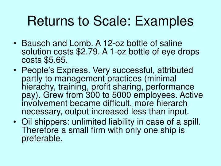 Returns to Scale: Examples