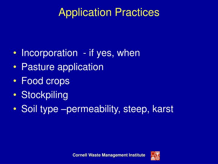 Application Practices