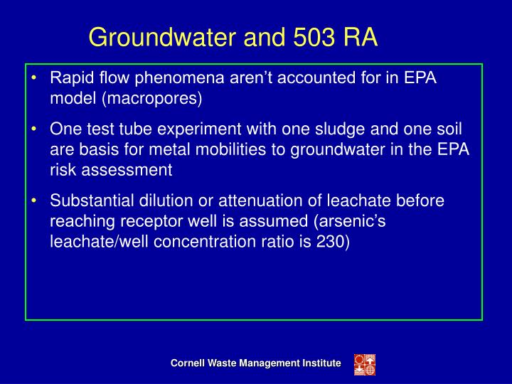 Groundwater and 503 RA