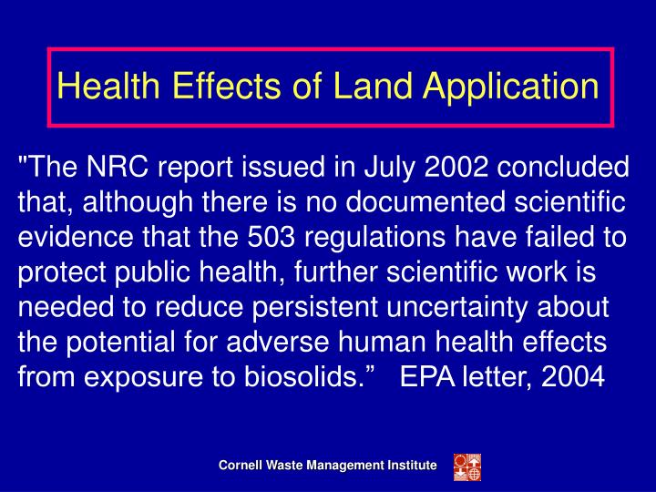 Health Effects of Land Application