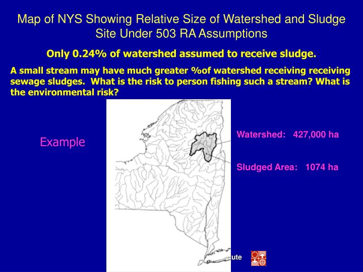 Map of NYS Showing Relative Size of Watershed and Sludge Site Under 503 RA Assumptions