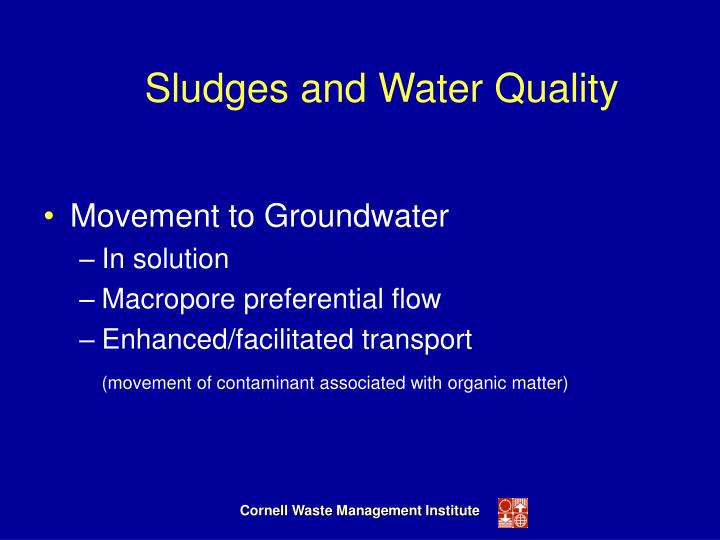 Sludges and Water Quality