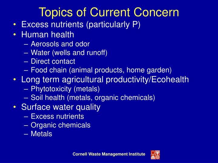 Topics of Current Concern
