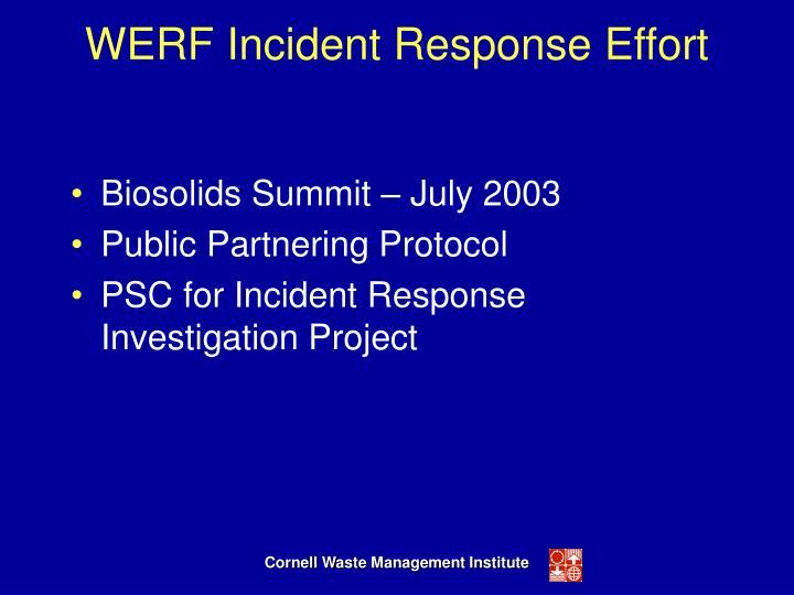 WERF Incident Response Effort