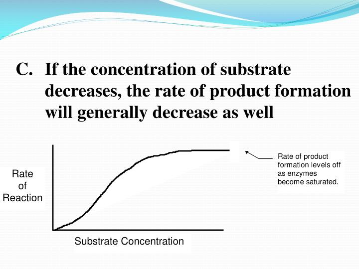 If the concentration of substrate decreases, the rate of product formation will generally decrease as well
