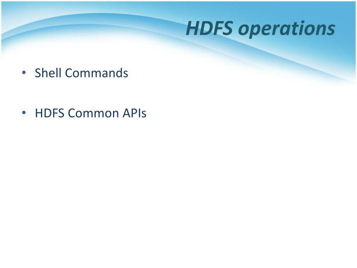 HDFS operations