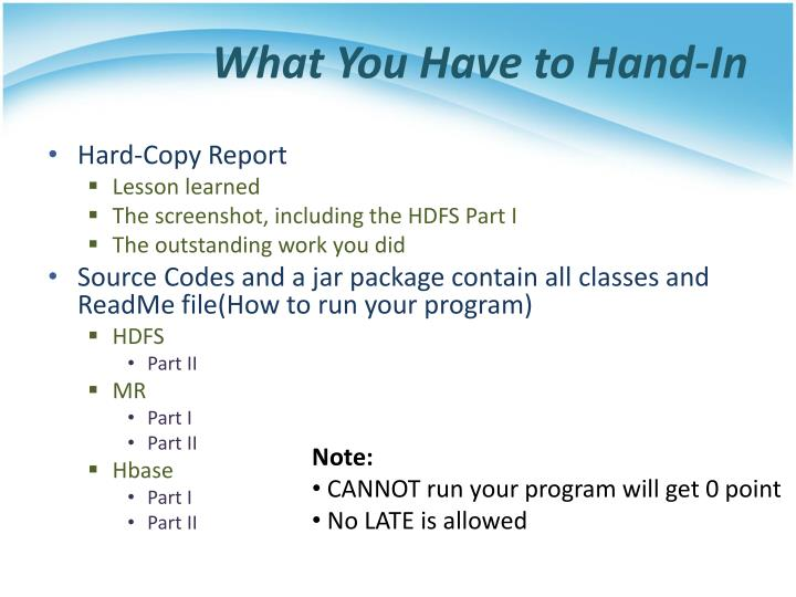 What You Have to Hand-In