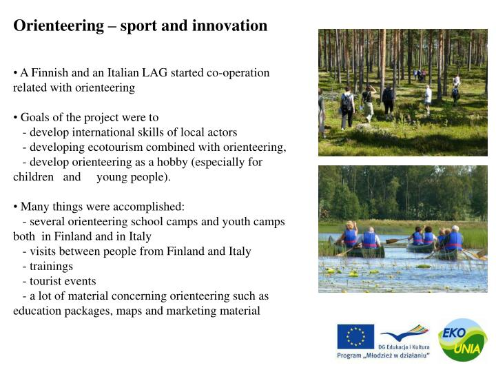 Orienteering – sport and innovation