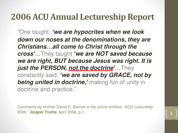 2006 ACU Annual Lectureship Report