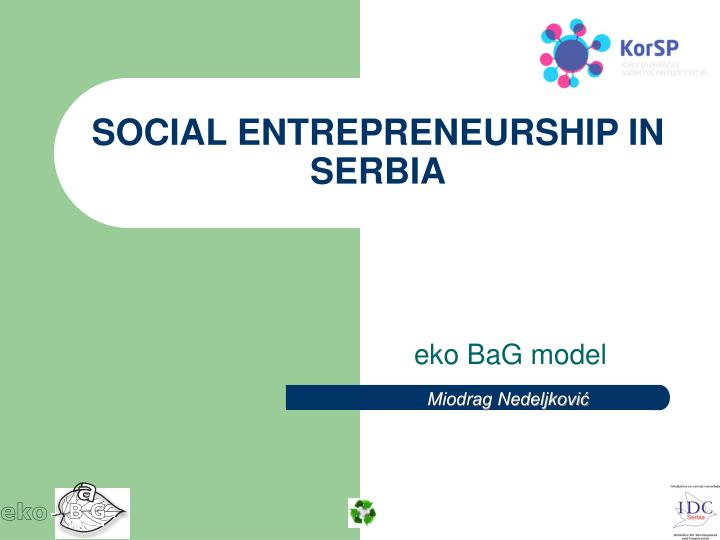 Social entrepreneurship in serbia