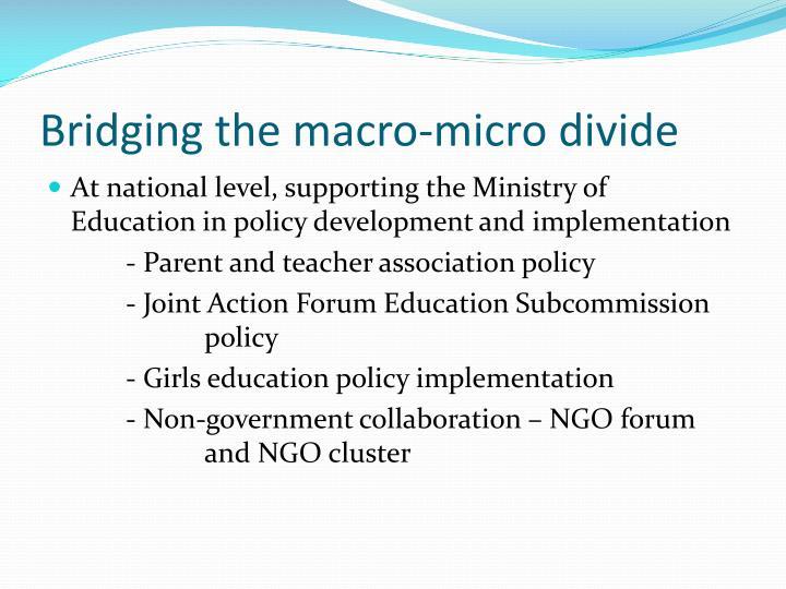 Bridging the macro-micro divide