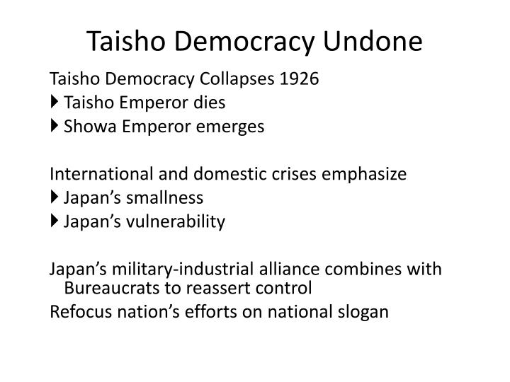 Taisho Democracy Undone