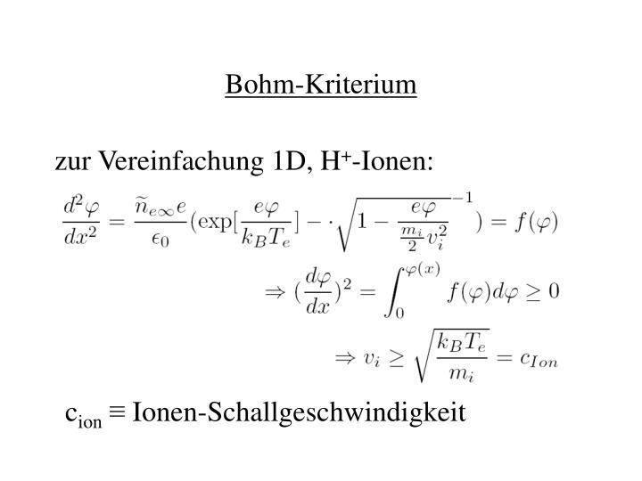 Bohm-Kriterium