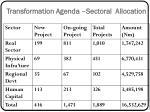transformation agenda sectoral allocation