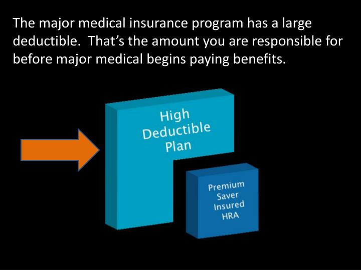 The major medical insurance program has a large deductible.  That's the amount you are responsible...