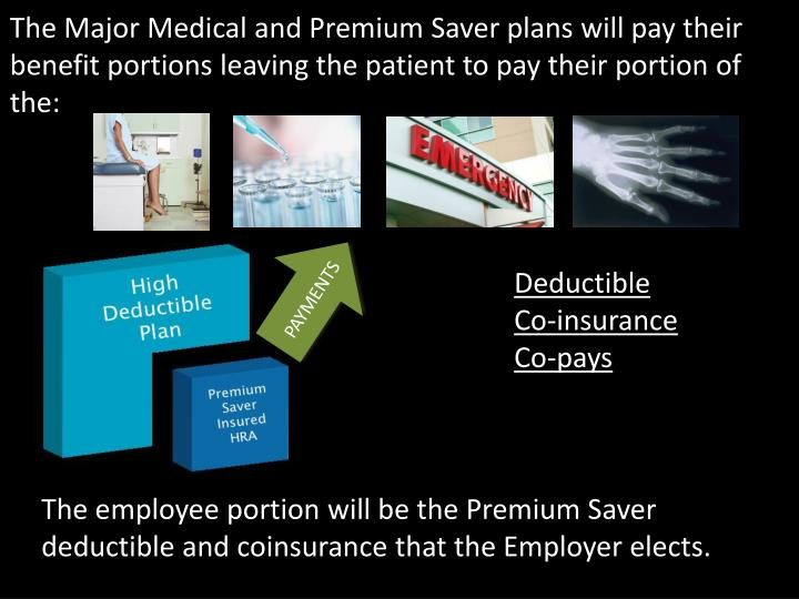 The Major Medical and Premium Saver plans will pay their benefit portions leaving the patient to pay their portion of the: