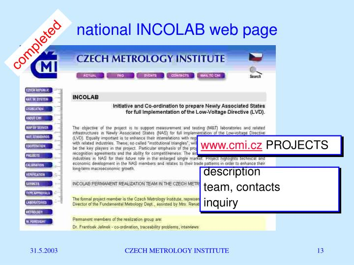 national INCOLAB web page