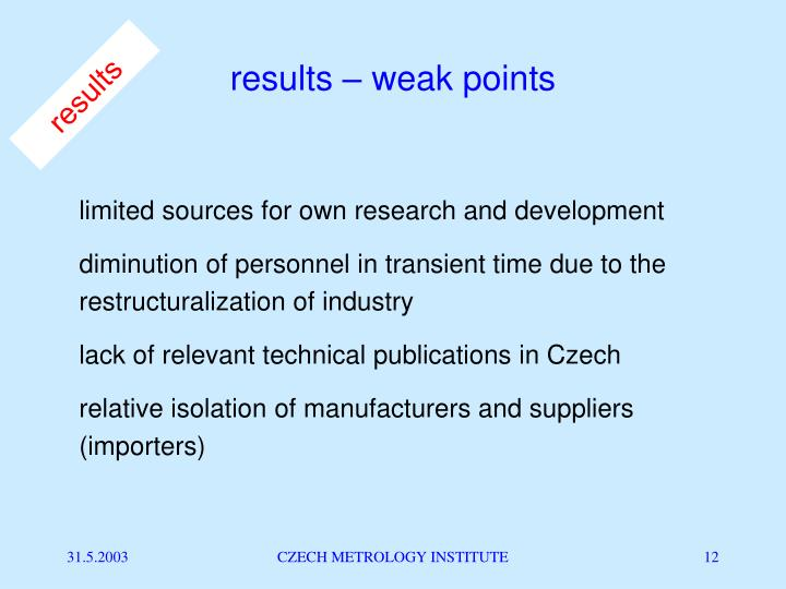results – weak points