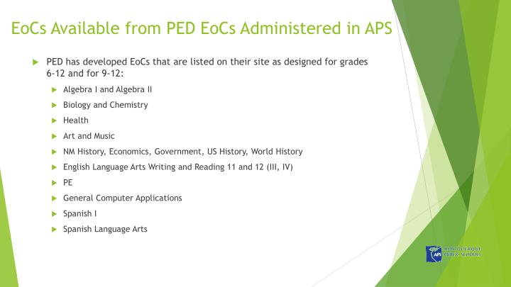 EoCs Available from PED EoCs Administered in APS
