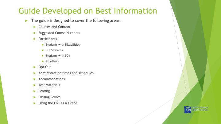 Guide Developed on Best Information