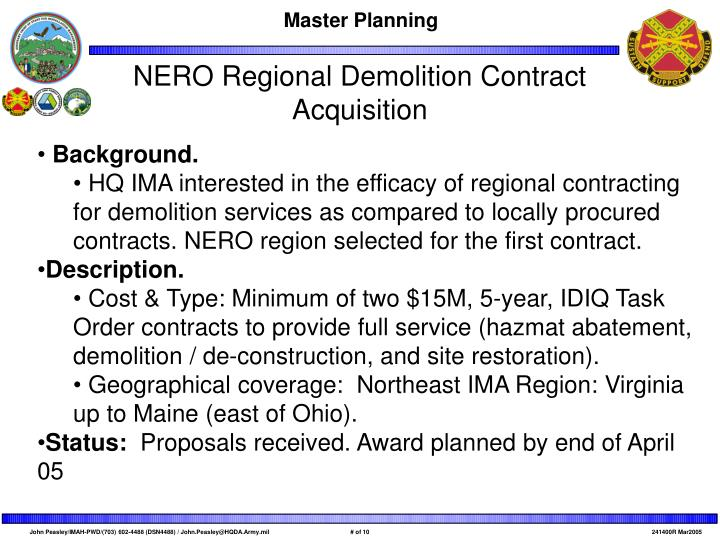 NERO Regional Demolition Contract Acquisition