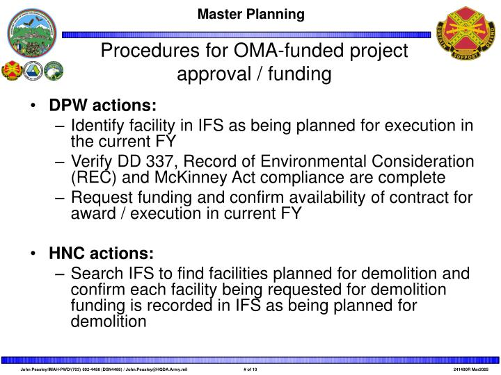 Procedures for OMA-funded project approval / funding