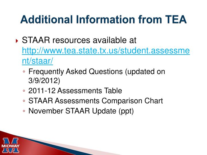 Additional Information from TEA