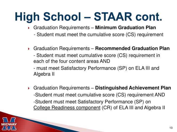 High School – STAAR cont.