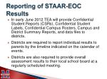 reporting of staar eoc results