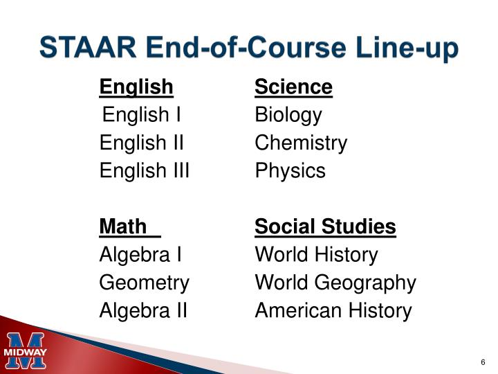 STAAR End-of-Course Line-up