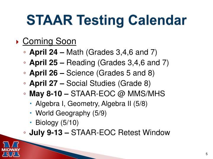 STAAR Testing Calendar